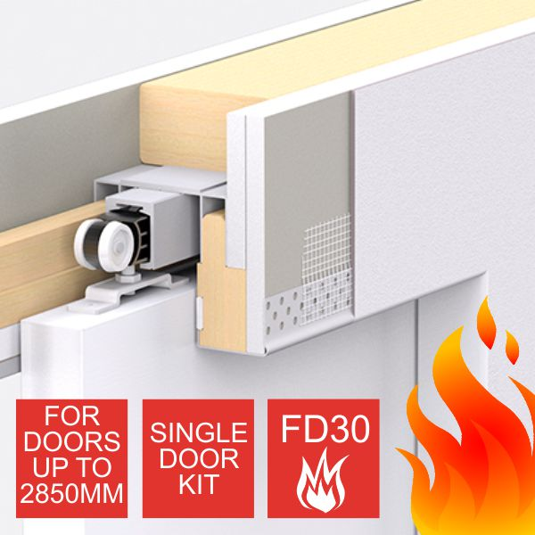 Enigma Concealed Pocket Door - Single Door Kit - Large FD30