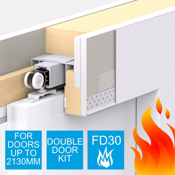 Enigma Concealed Pocket Door - Double Door Kit - Small FD30