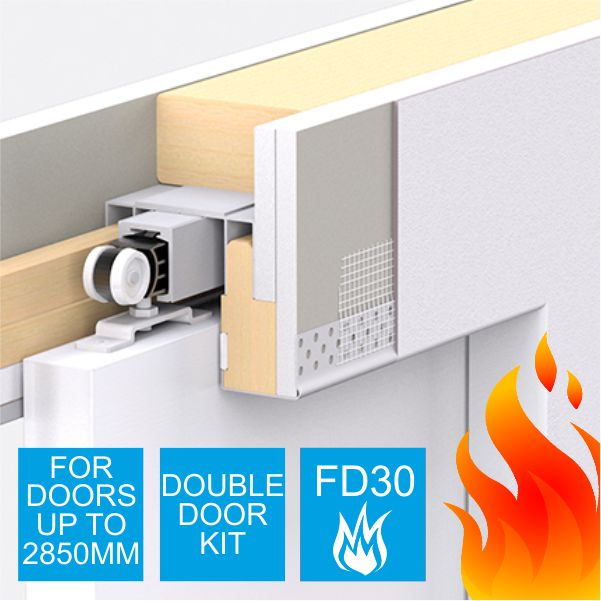 Enigma Concealed Pocket Door Double Door Kit Large Fd30